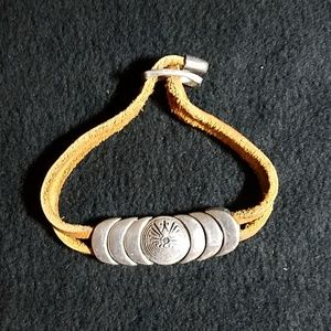 Jewelry - Western style leather and stainless steel bracelet